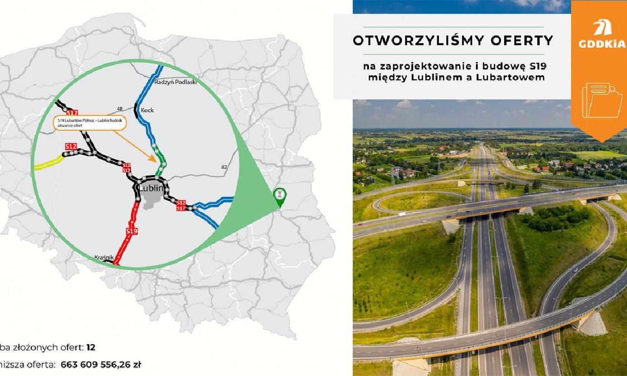 Dwanaście ofert budowy drogi S19 Lublin - Lubartów