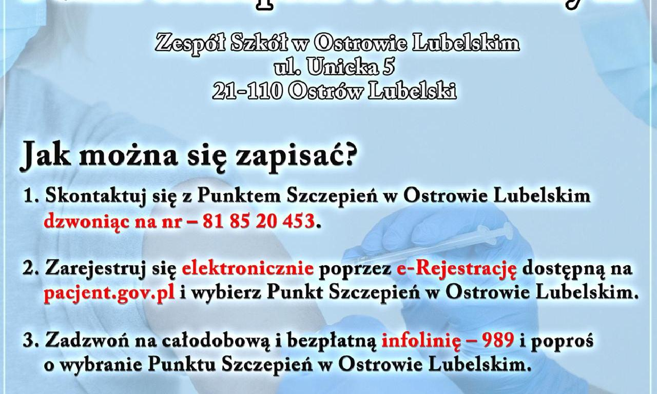 Punkt Szczepień Powszechnych w Ostrowie Lubelskim!